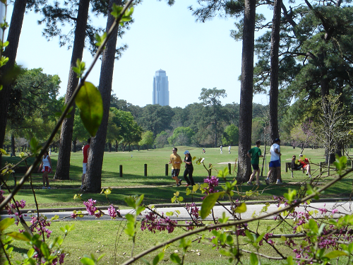 Memorial Park golf course in Houston with Williams Tower in the background 500