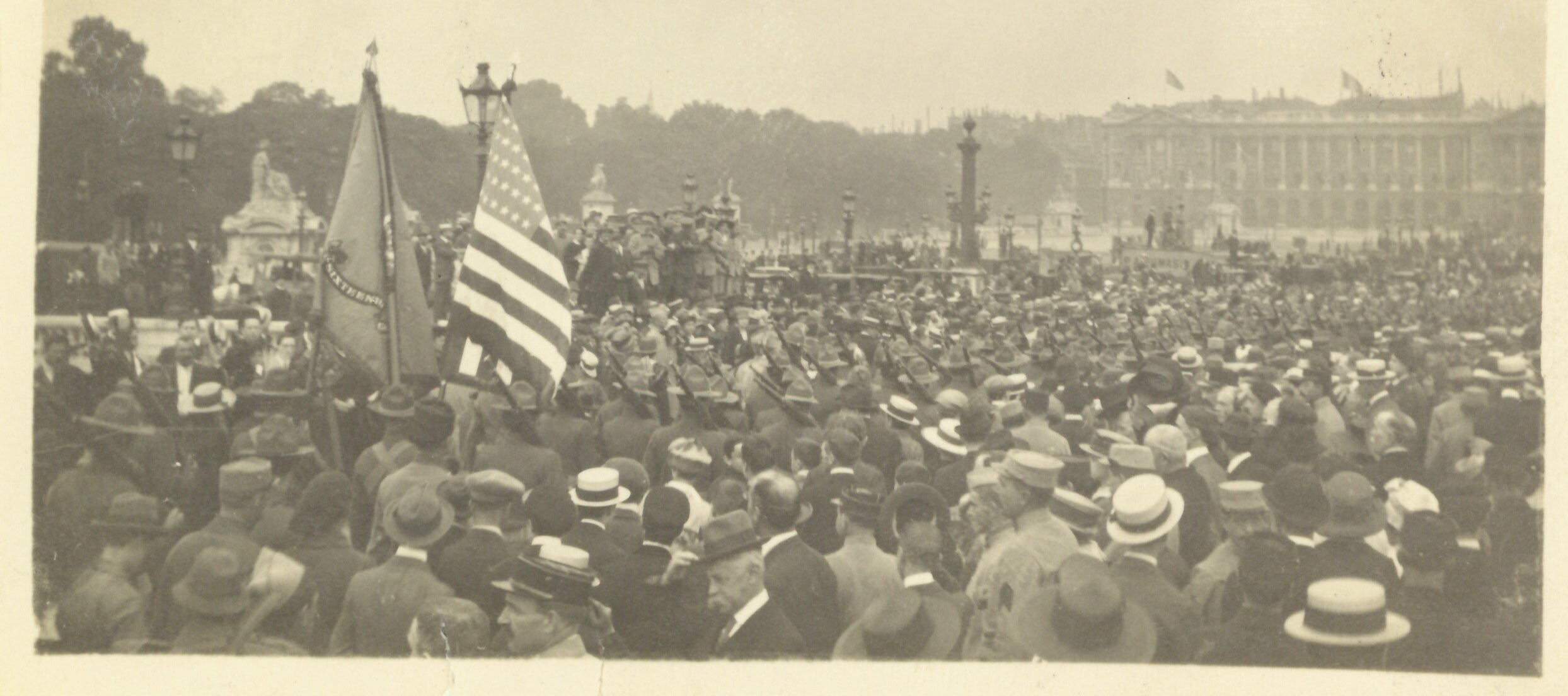 24. Americas First Expeditionary Force 16th Regiment U.S. regulars marching thru La Place de la Concorde on July 4 1917