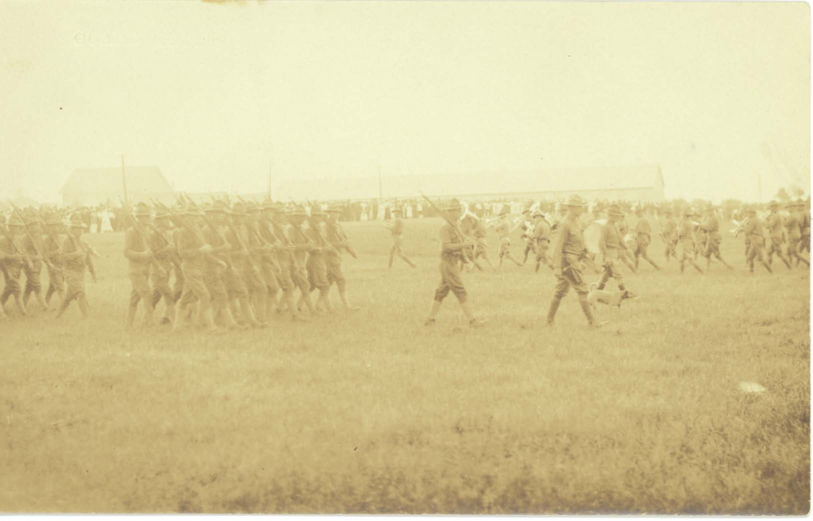 Troops and band of the 2nd Maine Infantry on parade at Camp Keyes, Augusta, Me., 1917