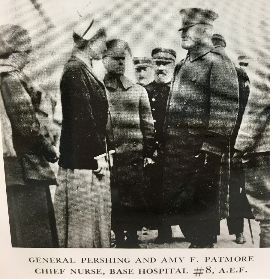 General Pershing visits with Amy F. Patmore, Chief Nurse at AEF Base Hospital #8, Savenay, Department Loire Inferieure, France