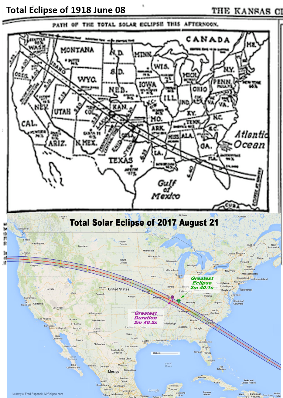 Maps of Eclipses 1918 2017 KC
