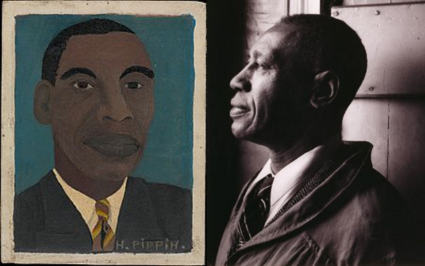 Painter Horace Pippin self portrait and portrait photo.