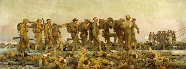 "John Singer Sargent's monumental tableau ""Gassed"" (from the Imperial War Museums, London) is one of many high-profile loans from both private and public collections that are part of the ""World War I and American Art"" exhibition."