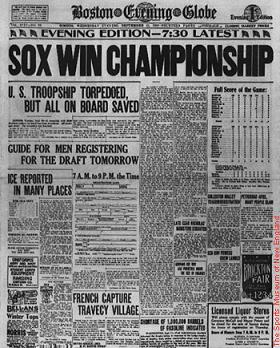 1918 World Series Boston EVening Globe