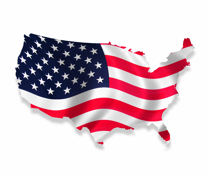 USA flag shape waving medium