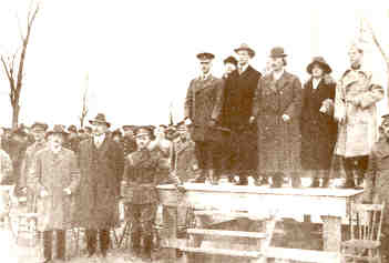 Paderewski at Koscuiszko Camp reviewing Volunteers from America with Prince Poniatowski and President Starszynski of the Polish Falcons