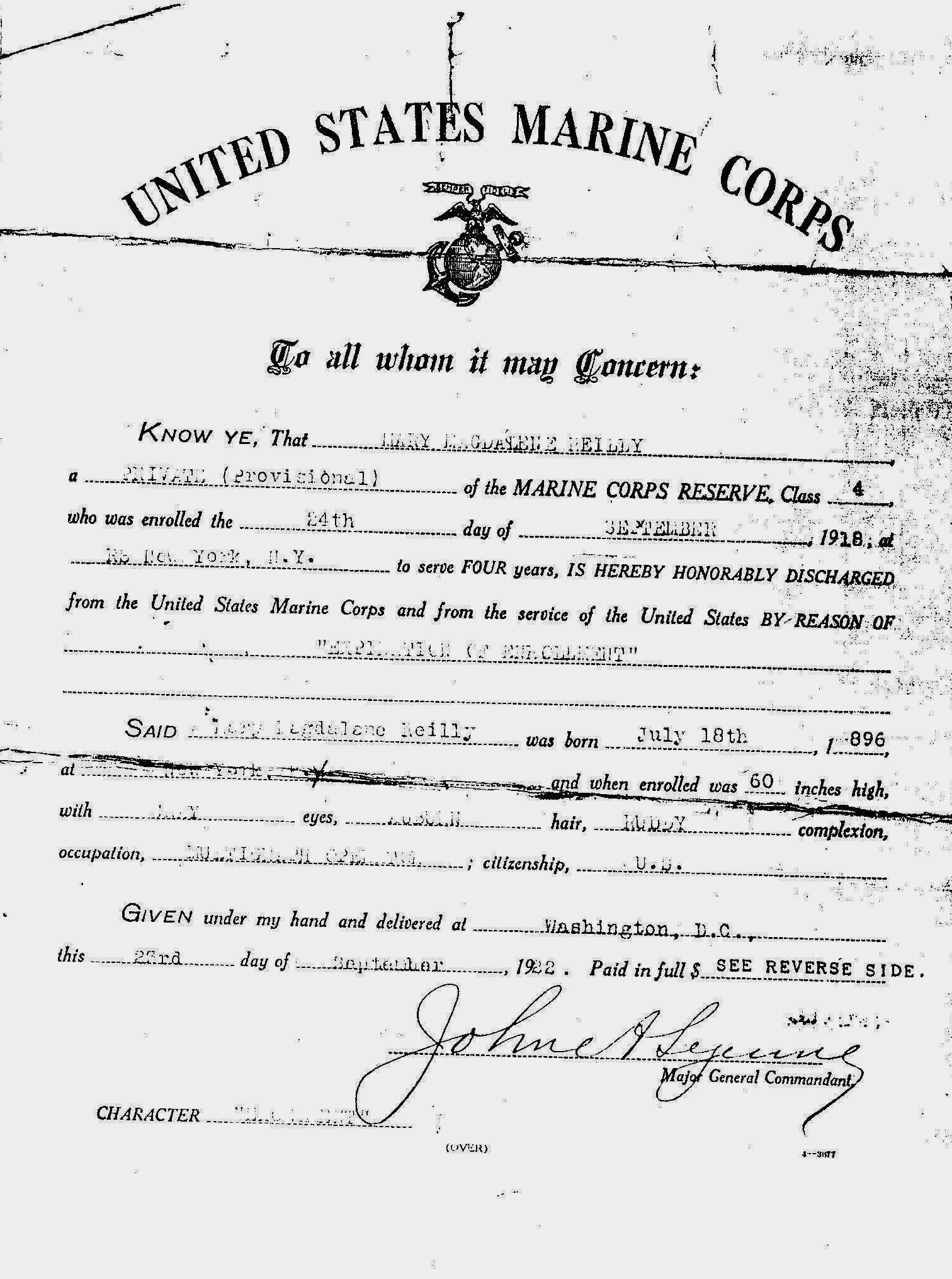 Mary Magdalene Reilly USMC Discharge papers