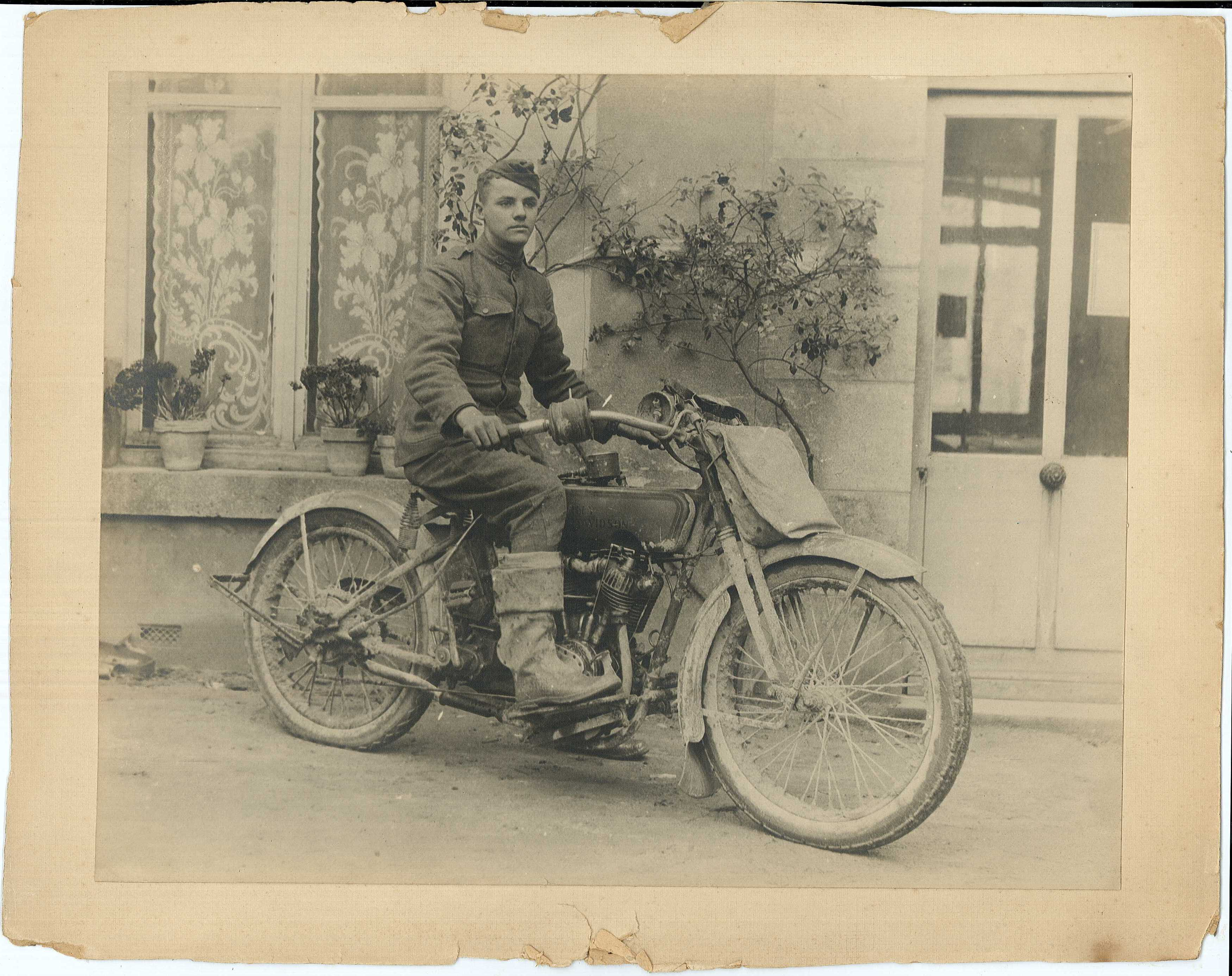 58c176adce94c Carlton Stevens on his Harley Davidson Service Motorcycle in France 1919