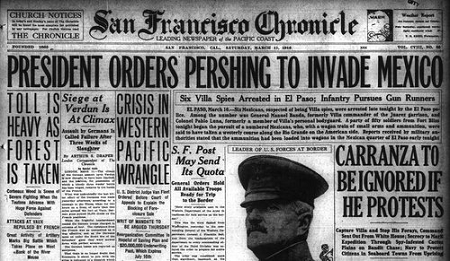 "Newspaper with headline ""President Orders Pershing to Invade Mexico"", circa March 1916"