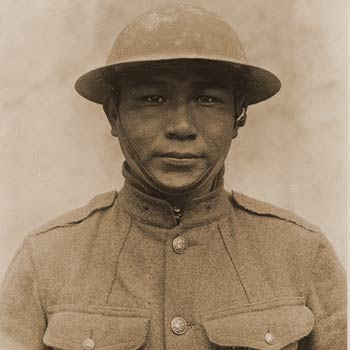 Pvt. John Elk - Company D, 189th Infantry, 35th Division from Bismarck, ND - Full Blooded Sioux Indian Doughboy