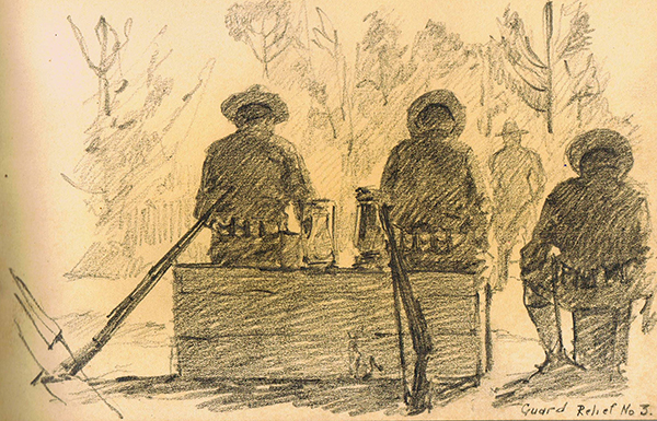 Rear view of three doughboys sitting with their rifles, waiting to go on guard duty