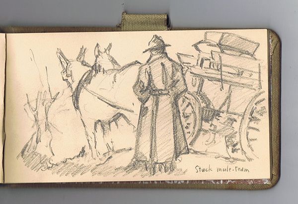 Doughboy in trench coat looking at two mules and wagon stuck in the mud