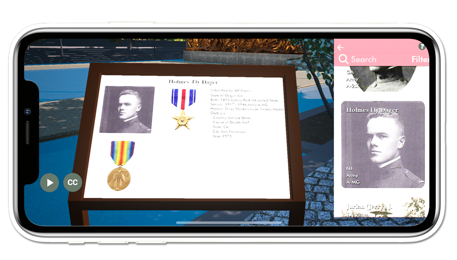 Remembrance of a WWI veteran as shown in the Virtual Explorer
