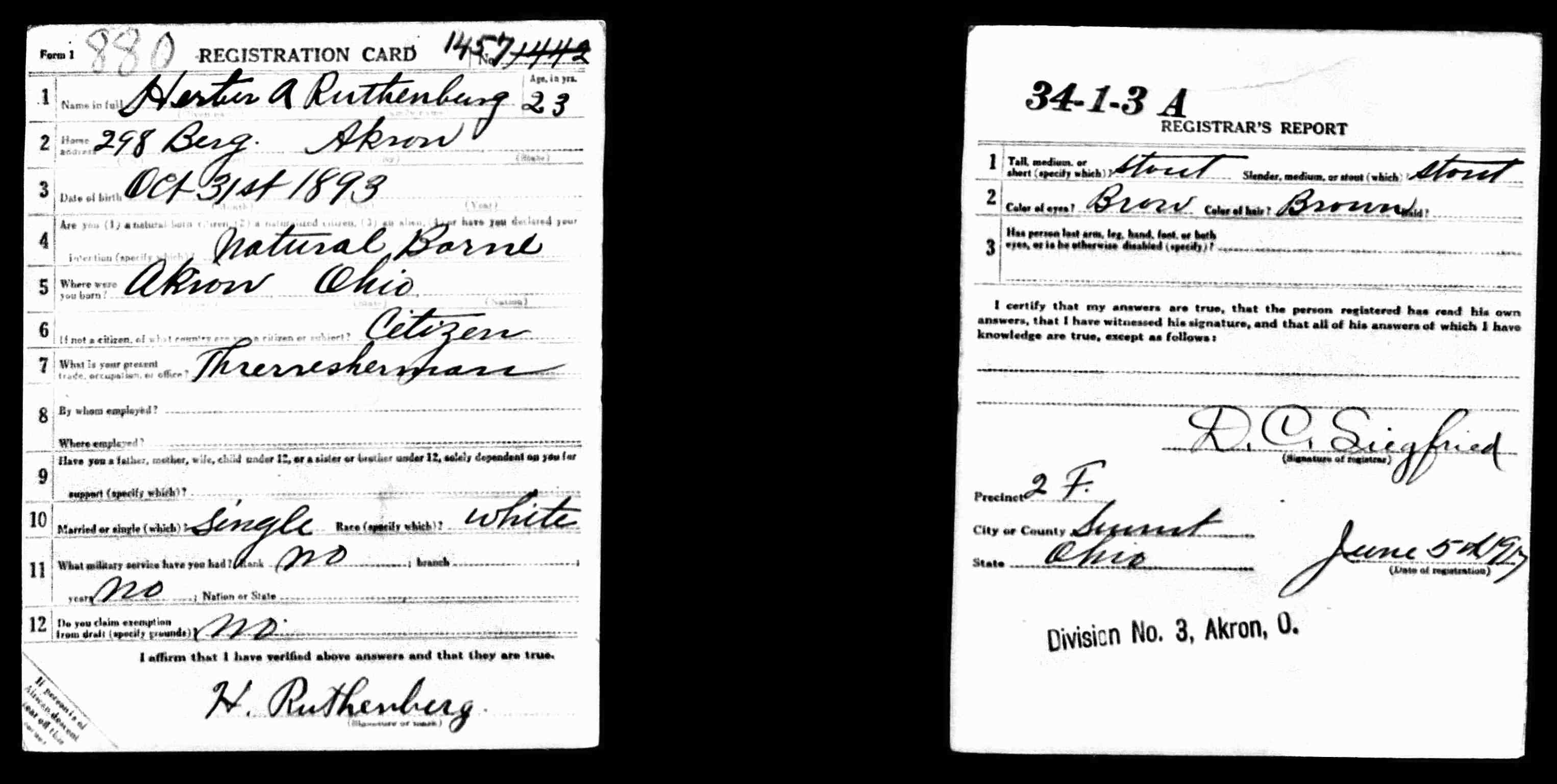 RUTHENBERG Herbert WWI Draft Registration June 5 1917