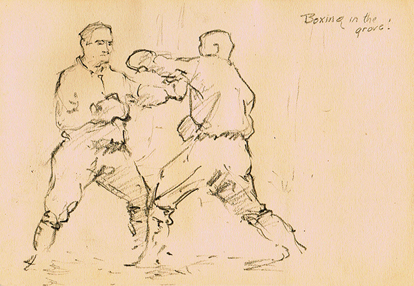 simple line drawing of two boxers sparring