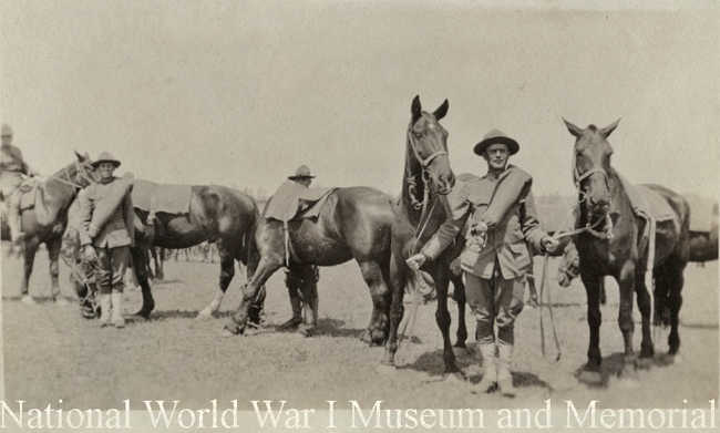 US PFC Frank Gilmore artillery with unit horses ww1mus
