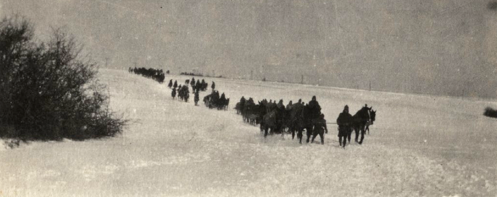 US caissons crossing snowy field wwimus