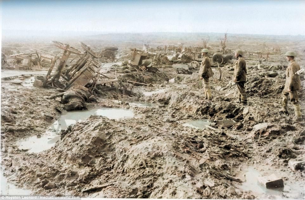 devastated landscape in early color