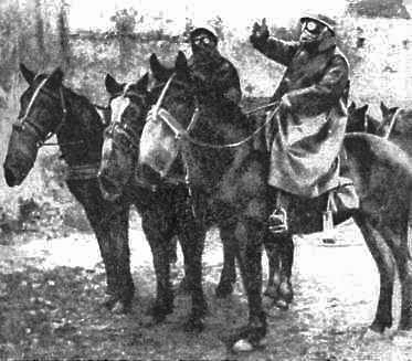 French horses with gas masks