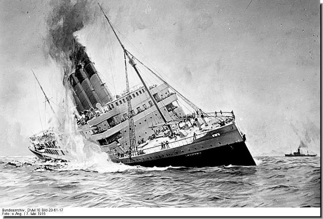 lusitania sinks ww1
