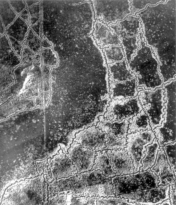 Aerial view Loos Hulluch trench system July 1917