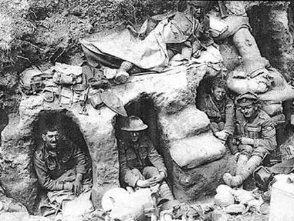 soldiers in trench huts