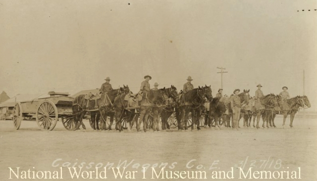 caisson wagons with two horse teams