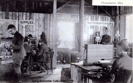 GK Base Veterinary Hospital No. 2 Headquarters Office in France during WW1