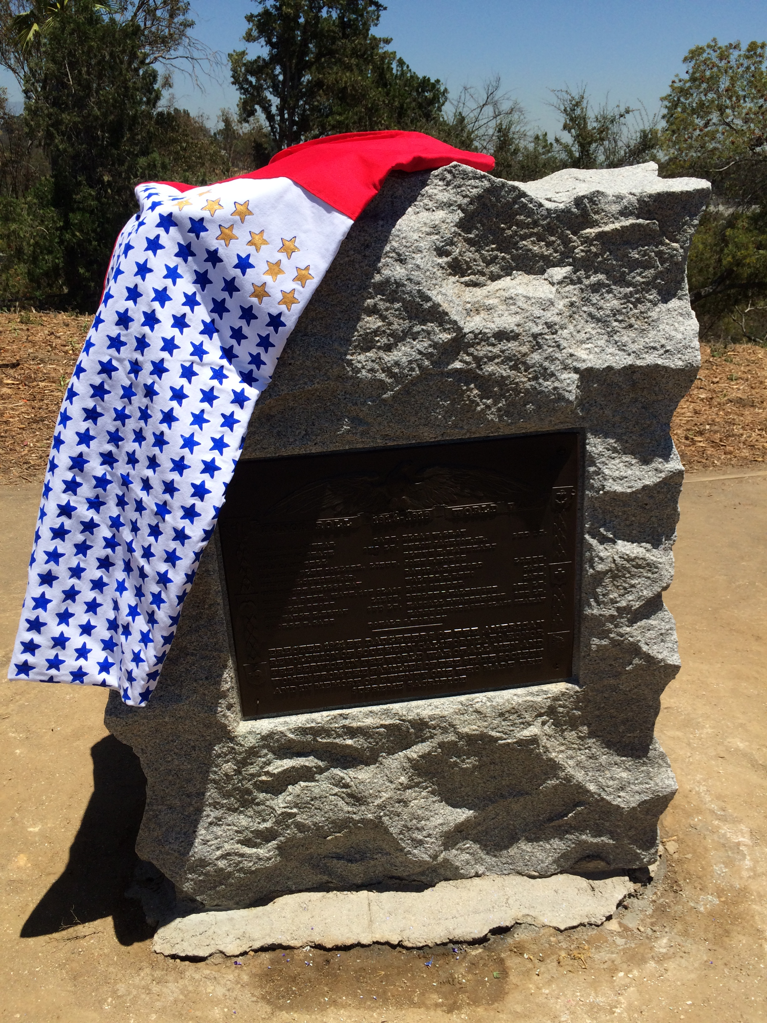 flag day at victory memorial grove 2017 monument and service banner