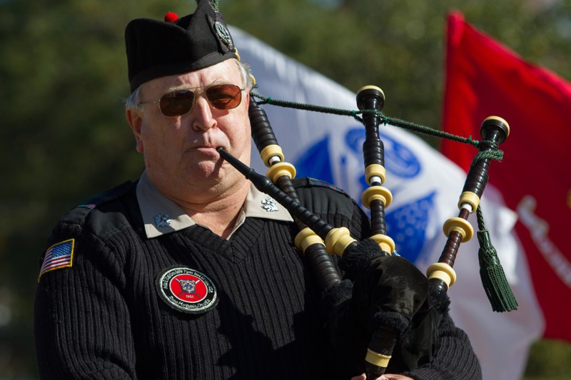 Bagpiper Wayne Coleman performs during the 2018 Veterans Day Commemoration at the Atlanta History Center on Sunday, November 11, 2018. (Photo: STEVE SCHAEFER / SPECIAL TO THE AJC)