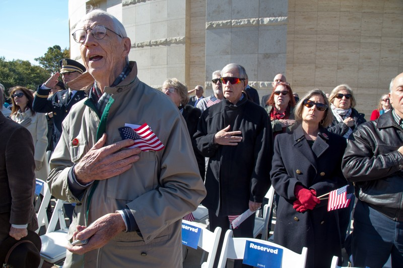 Martin Berning sings the national anthem at the beginning of the 2018 Veterans Day Commemoration at the Atlanta History Center on Sunday, November 11, 2018. This year's ceremony recognized the 100th anniversary of the end of World War I. (Photo: STEVE SCHAEFER / SPECIAL TO THE AJC)