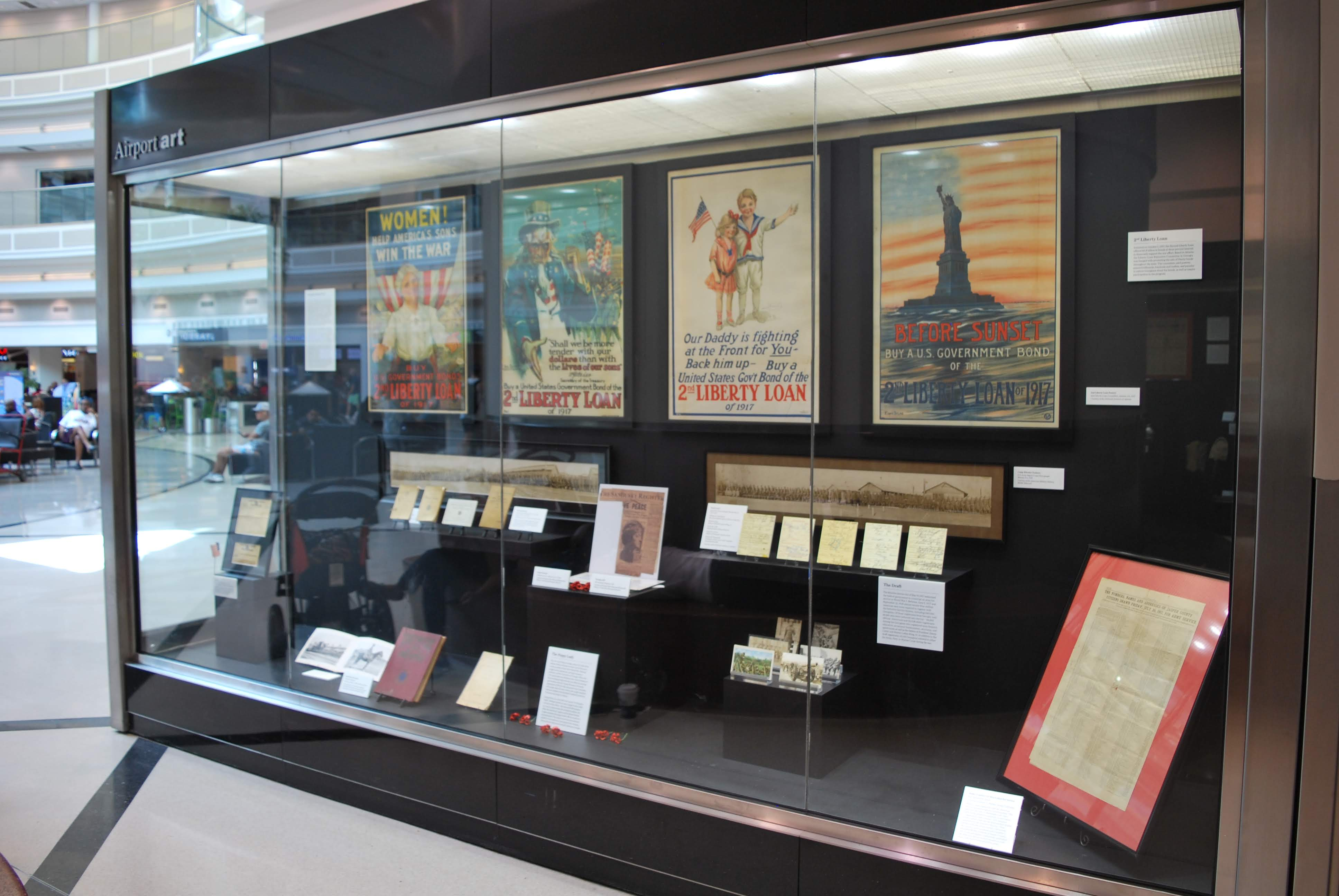 Picture fo the entire WW1 display at Hartsfield-Jackson International Airport