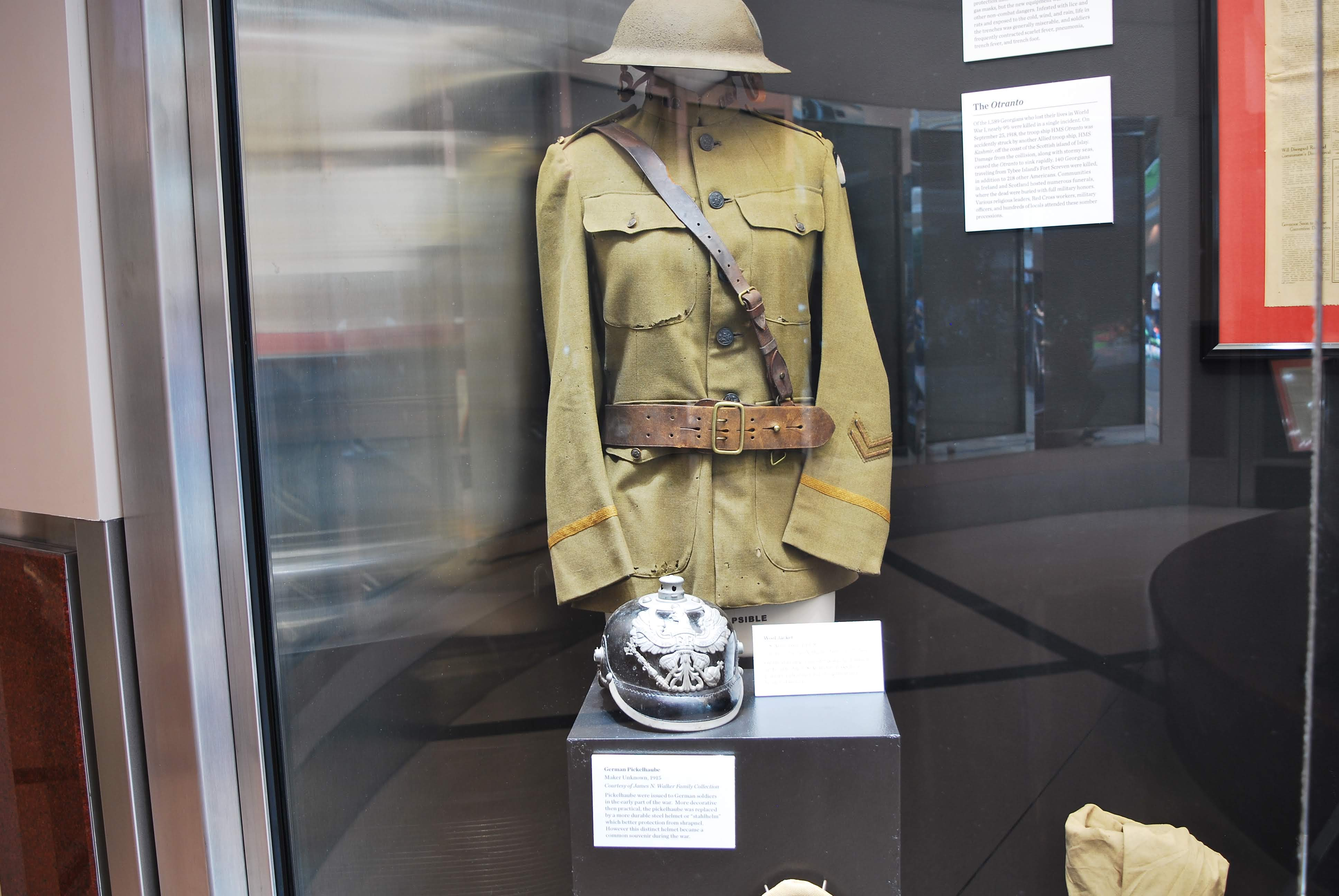 US army issued wool jacket and German Picklehaube helmet