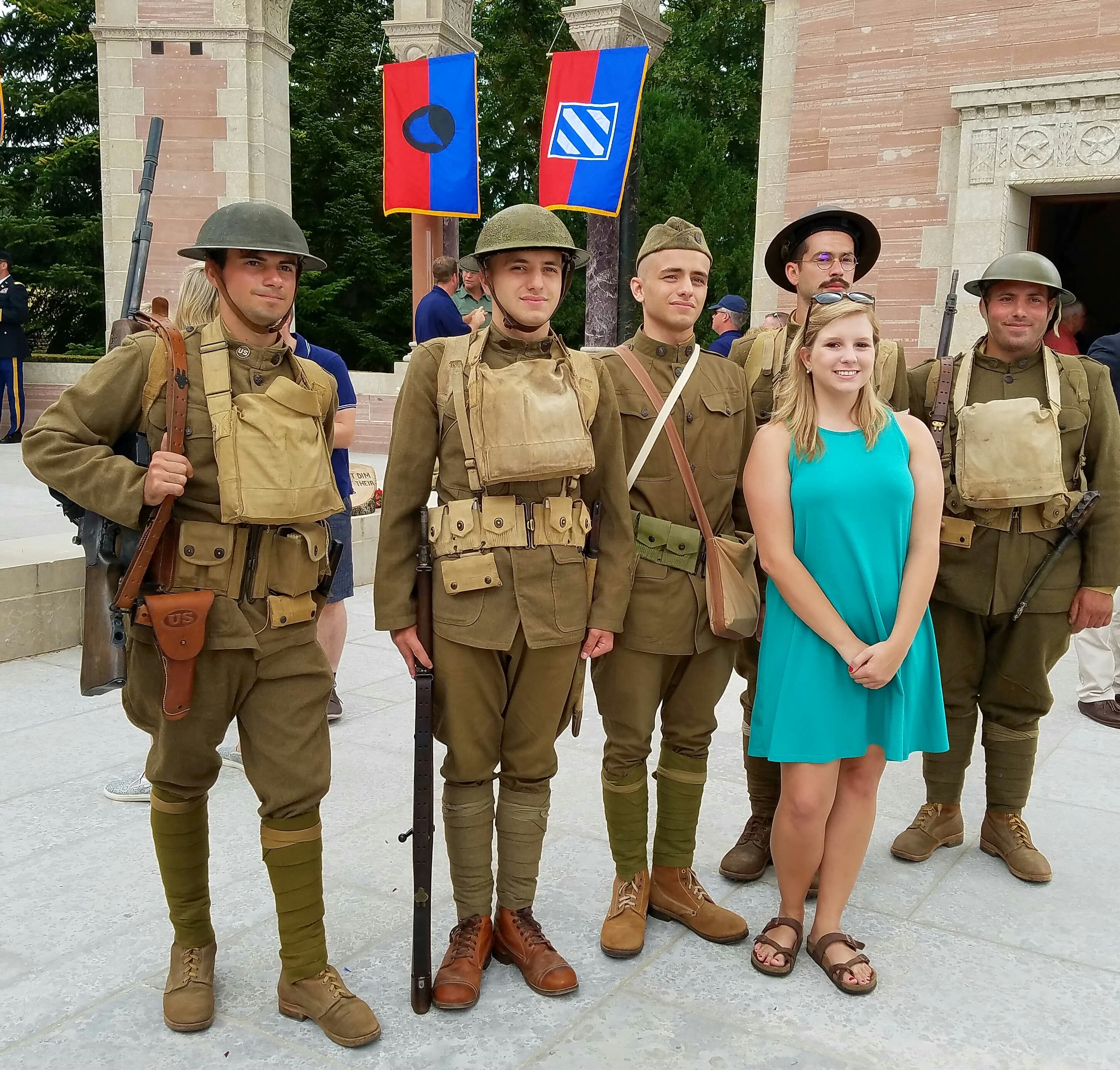 Brooklyn, with Doughboy re-enactors dressed in ww1 attire