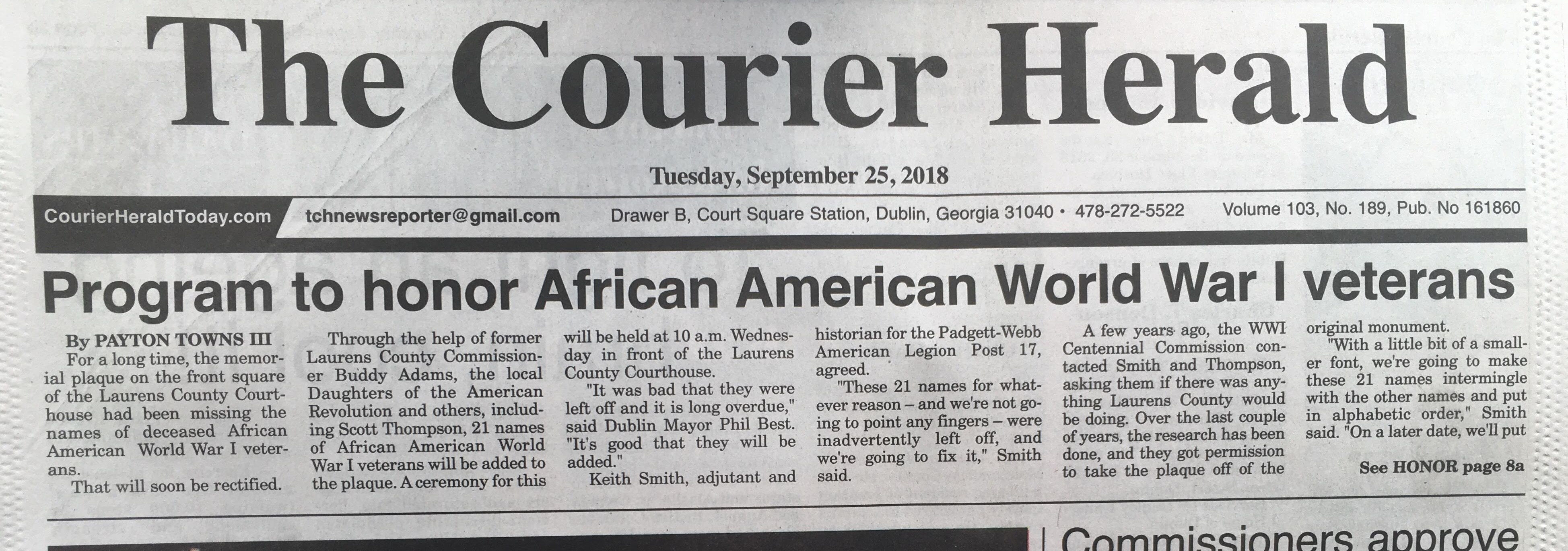 Newspaper clipping.  The Courier Herald.  'Program to honor African American WW1 Veterans'