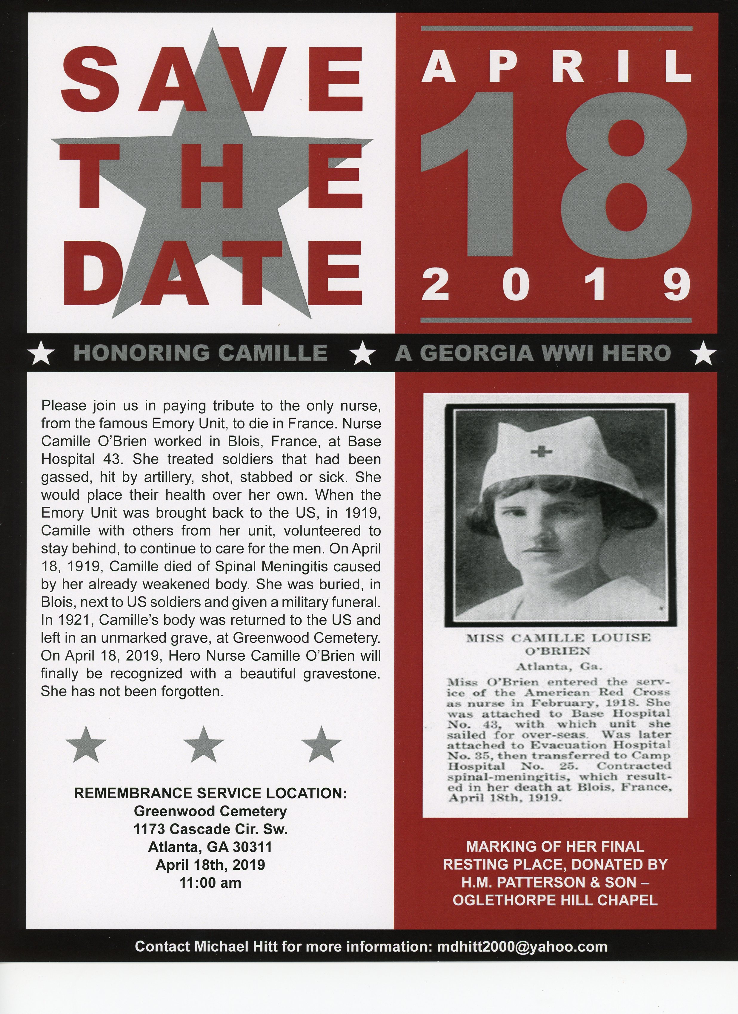 Save the Date poster of the Camille O'Brien ceremony
