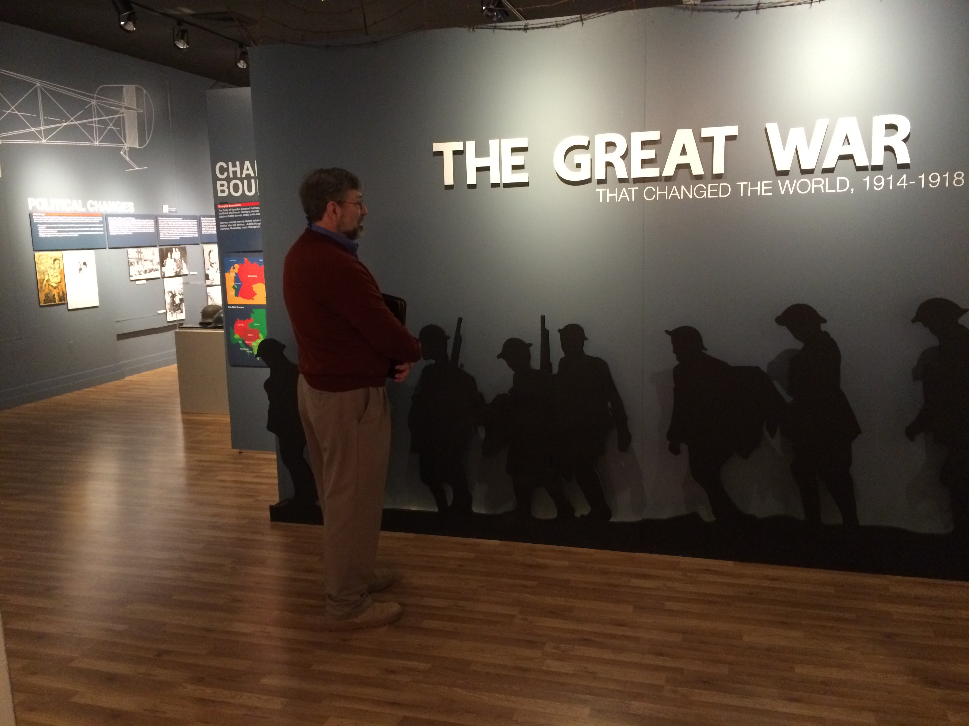 "Image of Georgia Southern Museum.  Words on on wall read ""The Great War"""