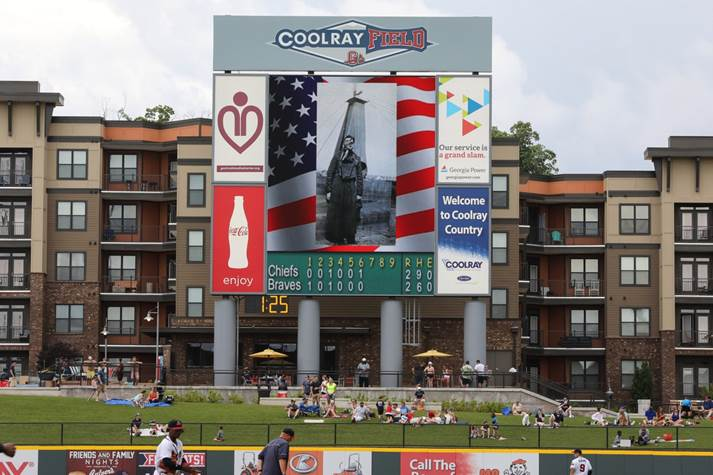 Photograph of CoolRay Field giant screen with picture of World War 1 soldier