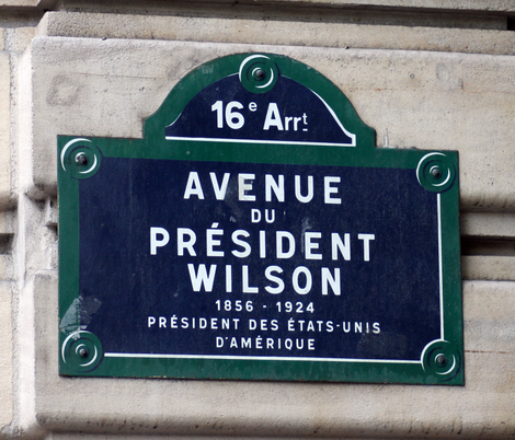 Avenue du Président Wilson street sign Paris