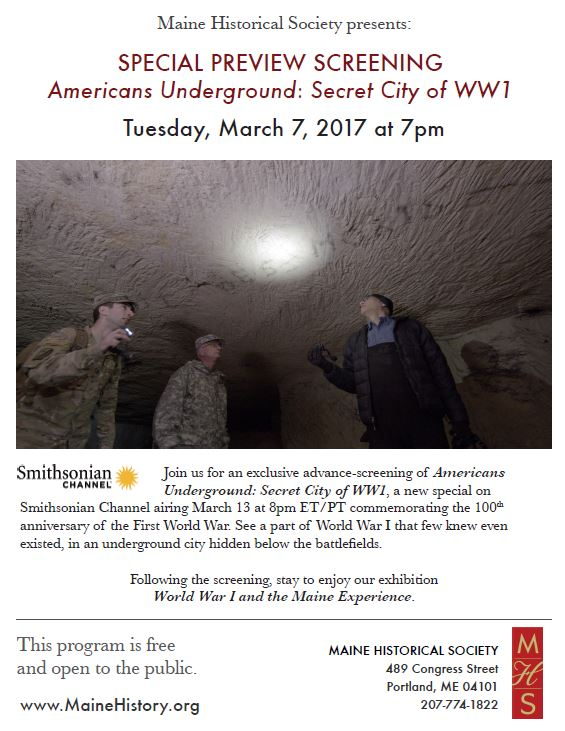 "Promo for ""Americans Underground"" screening at Maine Historical Society"