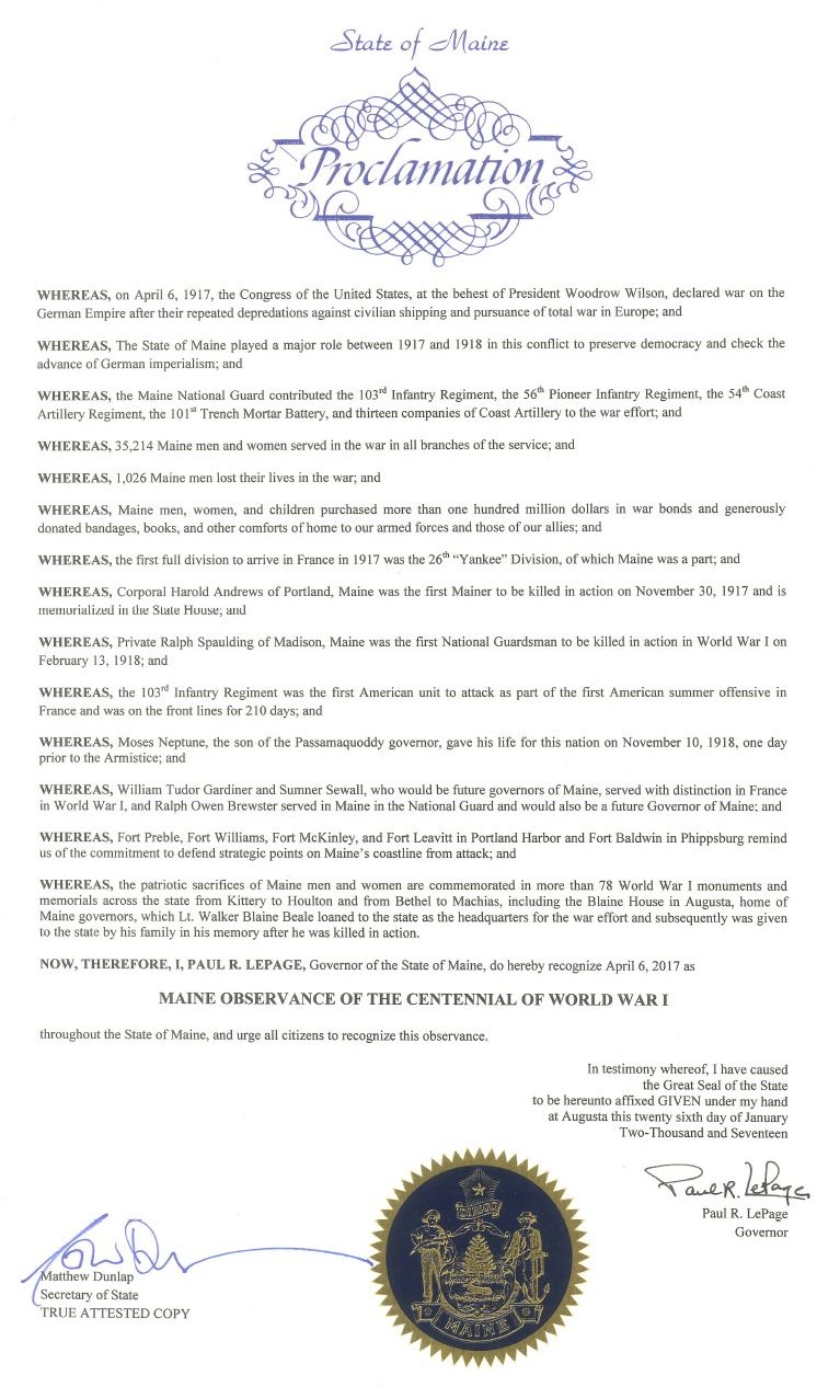 Proclamation of Maine Observance of the Centennial of World War I