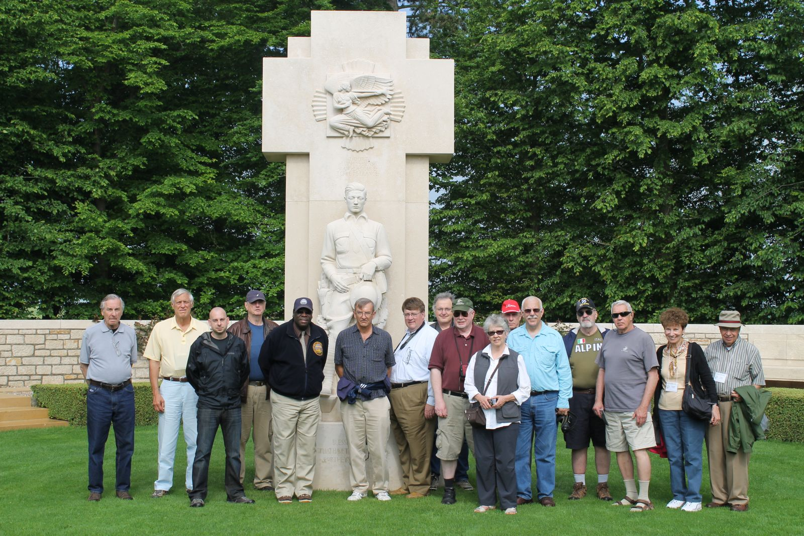 Mike Hanlon with tour group at St. Mihiel Cemetery in France, 2012