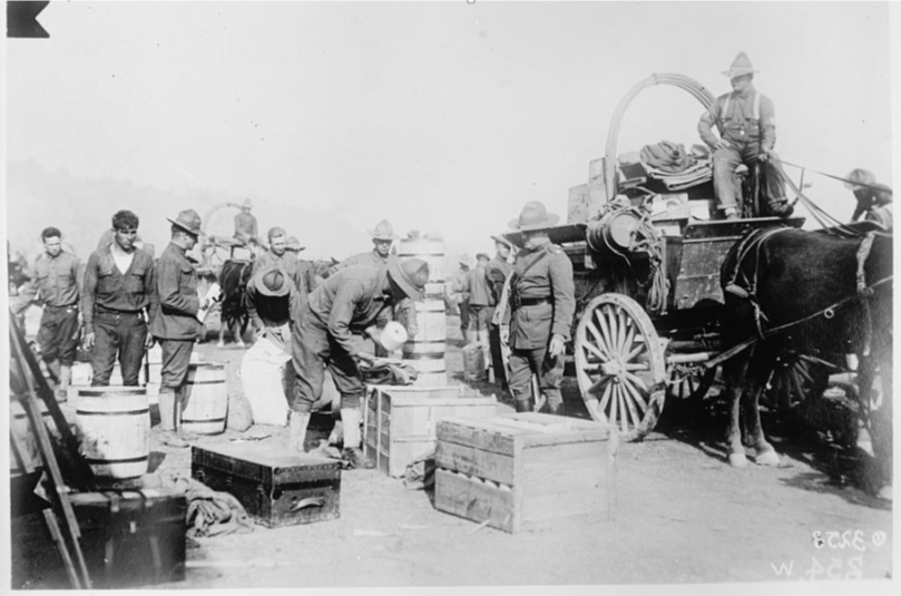 1918 photo of Quartermaster Supply unit in France