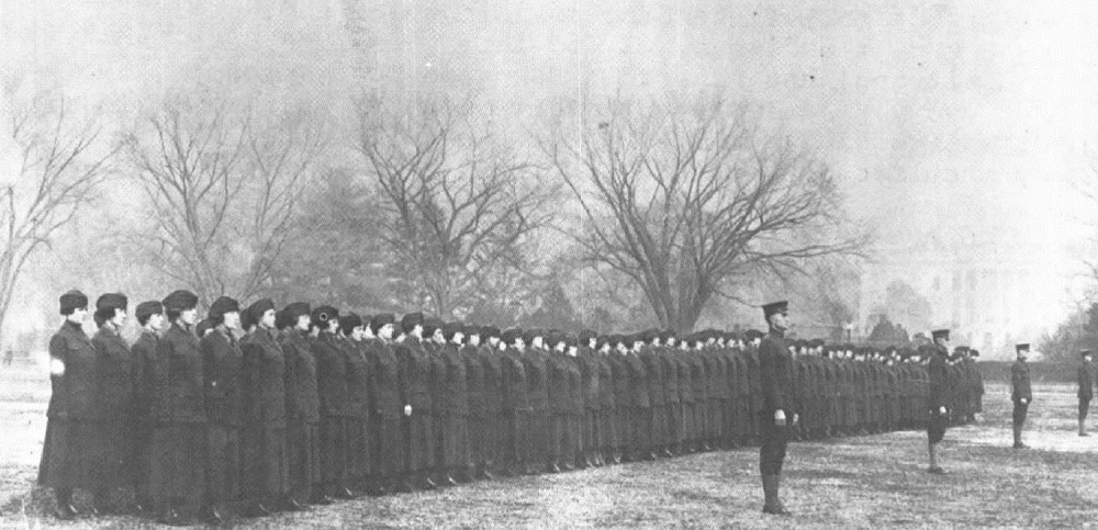 women Marines drill by white house