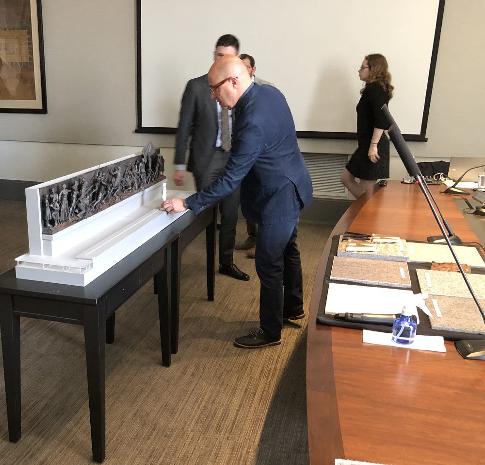 Setting up the new maquette for the CFA Commission members to view