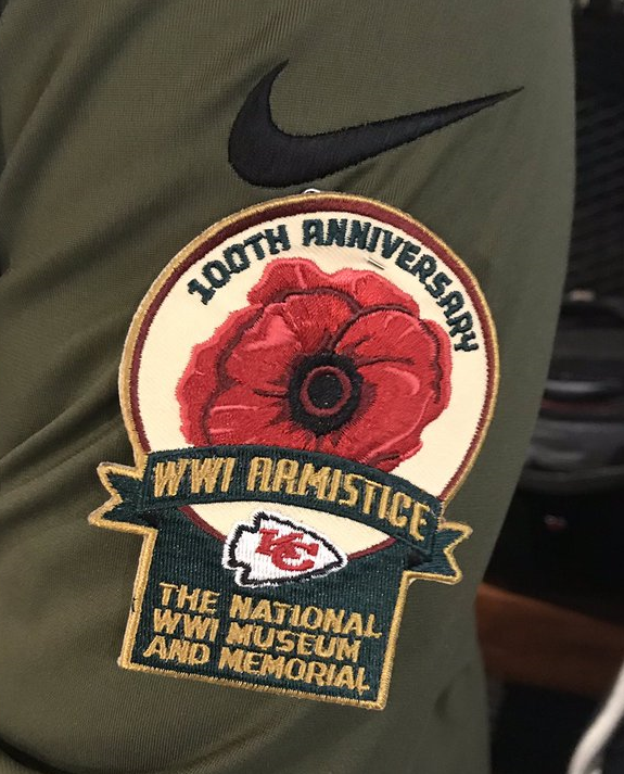 Closeup of the special Poppy Patch for the Kansas City Chiefs game on 11  November. 29a39e8aa