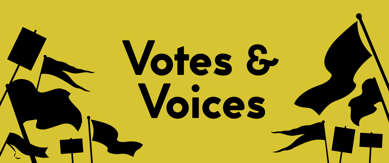 Votes Voices exhibition graphic