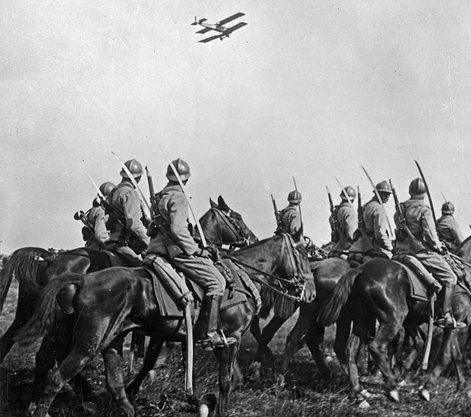 French cavalry with an aircraft overhead, 1916.  WWI was a time of incredible technological innovation and so is its remembrance.
