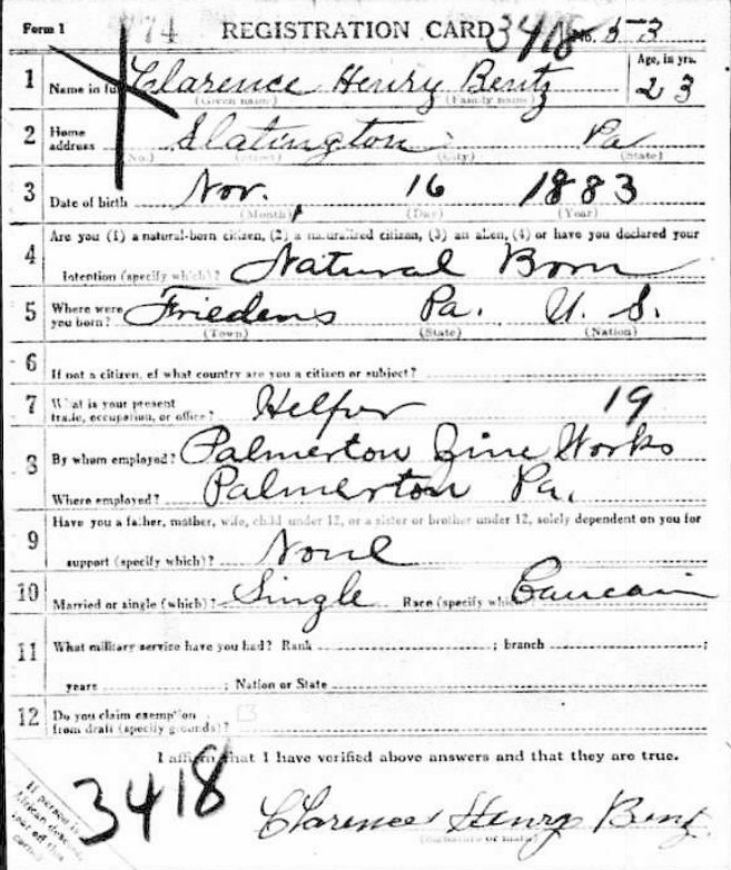 Clarence H Bentz draft card 1