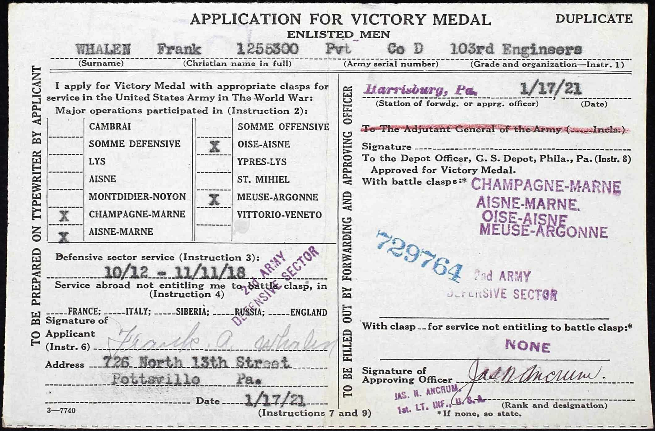 FA Whalen WW 1 Victory Medal Application